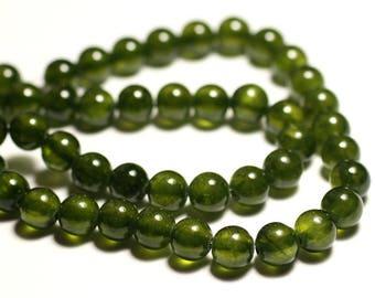 10pc - jade stone - 8mm Olive Khaki - 8741140016170 green balls