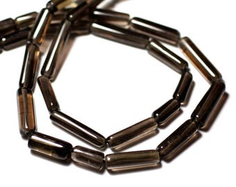 10pc - stone beads - smoky Quartz Tubes 9-18mm - 8741140012332