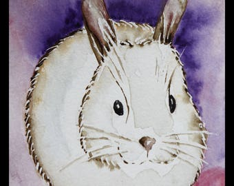 Original illustration painted in watercolor on ARCHES 300 g/m²petit White Rabbit!