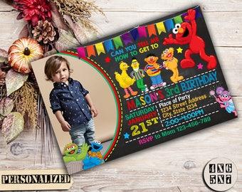 Sesame Street, Sesame Street Birthday, Sesame Street Invitation, Sesame Street Party, Elmo Invitation, Elmo Birthday, Sesame Street Invite