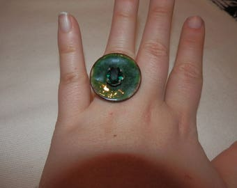 coconut and rhinestone button ring
