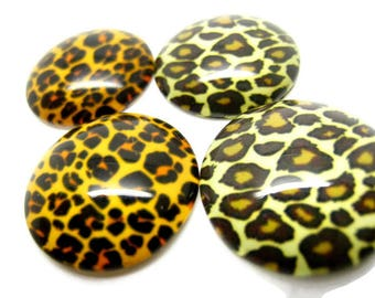 4 cabochons 20mm glass rounds Panther