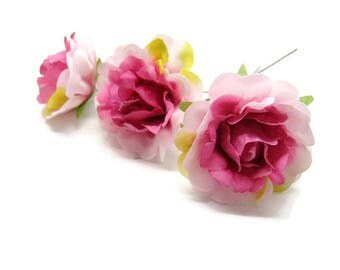 3 pink old 4.5 cm artificial Stud Fuchsia and pink silk for wreaths, bridal bouquet, wedding car