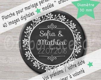 """Mariage """"ardoise"""" - 40 Images digitales à imprimer pour vos badges et cabochons."""