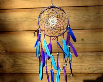 Dream catcher blue, turquoise and purple / actual 55 cm