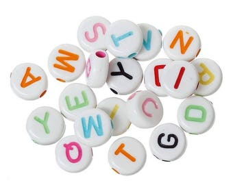 x 200 letters 7mm multicolored beads