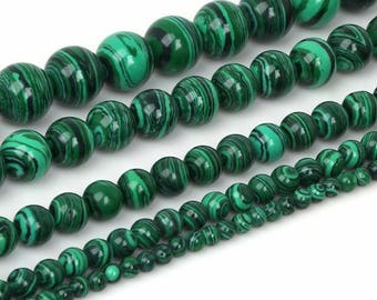 Synthetic malachite 6mm beads