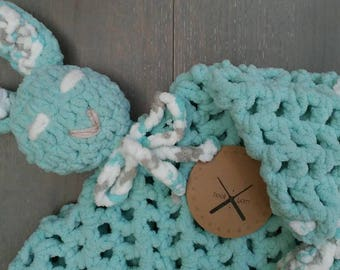 Baby Crochet Lovey Open Stitch Sleepy Bunny Security Blanket | Super soft | light teal | READY TO SHIP