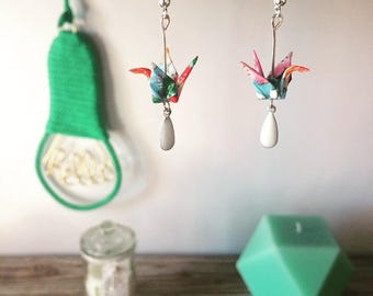 Earrings with origami cranes