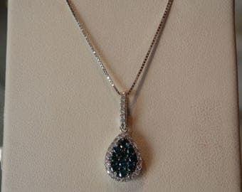 Handmade OOAK Blue Diamond Teardrop Necklace (FREE Custom Sizing Available)