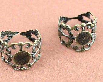 2 support adjustable filigree rings antique bronze finger