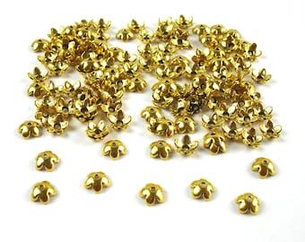 100 mini cups full flowers antique gold tone metal