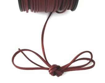MAROON 3 mm leather cord / 1.5 mm X 1 meter