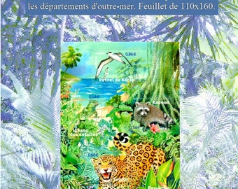 Endangered Wildlife in the Overseas Departments. Produced in France. Art and Philately. France 2007. bloc feuillet 110x160. Multicolor