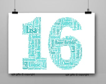 Personalised Gift Printable Word Art Age, 16th Birthday, Anniversary,  Sister, Brother, Wife, Husband Any Age Available, 1,13,16,18,21,30,40
