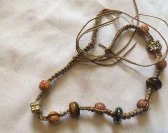 Gorgeous Tiger's Eye and Hematite with Owls Hemp Necklace