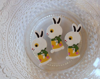 button wooden yellow Bunny