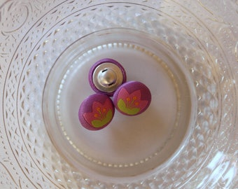 purple flower button pink and green fabric