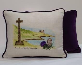 Handmade, luxury cushion using our own artwork, backed with velvet.