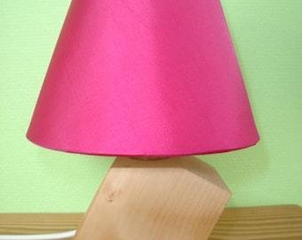 wobbly lamp wood Lampshade fuschia