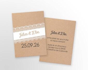 Wedding - rustic invitation card - to customize