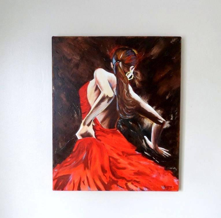 tableau la danseuse de flamenco de dos. Black Bedroom Furniture Sets. Home Design Ideas