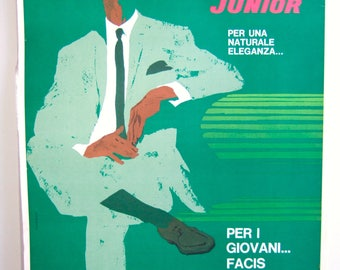 "Original 1960s Italian men's fashion poster. Facis ""Junior."" Linen-backed."