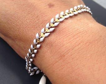 bracelet épi émaillé ivoire et sa petite feuille émaillé assortie