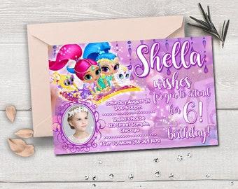 Shimmer and shine birthday, shimmer and shine birthday invitation, shimmer and shine invitation, shimmer and shine party, shimmer and shine