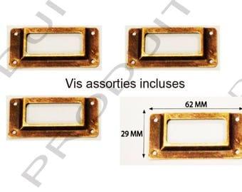 Set of 4 door tag color Bronze drawer filing cabinet craft drawer 62 x 29 mm