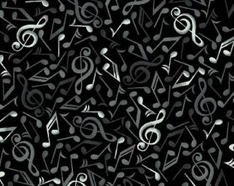 Patchwork fabric black music note