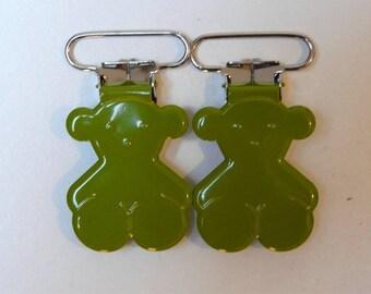 bear pacifier clip-Green