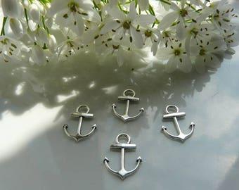 Silver anchor charm pendant 2 x