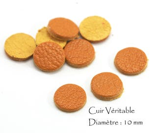 6 round genuine leather - Diam. 10 mm - goat leather - set color yellow mustard