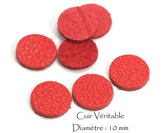 6 round genuine leather - Diam. 10 mm - goat leather - red vermilion color set