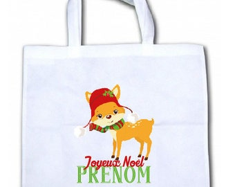 "PERSONALIZED tote bag/tote bag ""Little deer Christmas"""