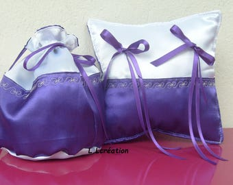 purse and bag in purple and white satin ring pillow