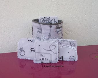 cleansing wipes in Paris grey pattern cotton fabric