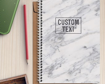 Custom Name Marble Writing journal Notebook White Personalized Notebook Gift Spiral Notebook Notebook A5 Notebook Stoned Notebook A4 Diary