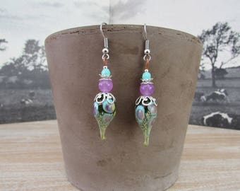 "Earrings bead spun torch and natural stones ""Peacock"""