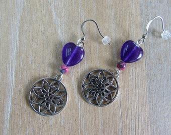 "Natural stone ""Rose"" earrings"