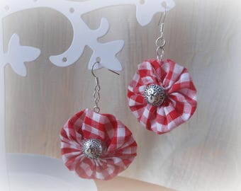 SET EARRINGS AND RING IN RED GINGHAM FABRIC