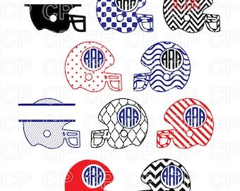 Football Helmet SVG Cut Files, Football Helmet Clipart, Football Monogram Frames Cut Files for Cricut, Silhouette Studio_Digital Download