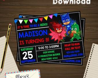 Pj masks invitation, pj masks birthday, pj masks PDF, pj masks editable, pj masks download, pj masks edit, pj masks party, pj masks birthday