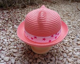 Star child patterns pink straw hat