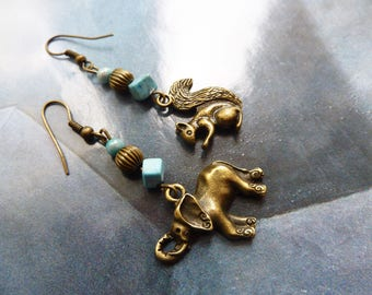 Ethnic earrings asymmetric turquoise charms elephant and squirrel