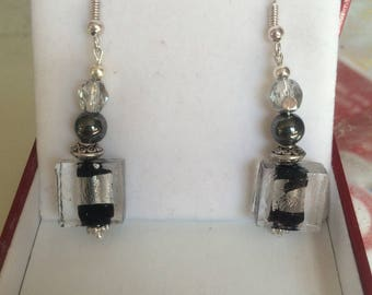 Black square glass bead dangle earrings