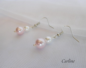 Earrings Pearl light pink and white Swarovski pearls