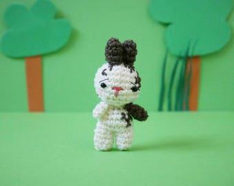 Keychain / Micro plush spotted rabbit amigurumi
