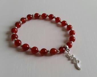 Carnelian bracelet - beads 6 mm